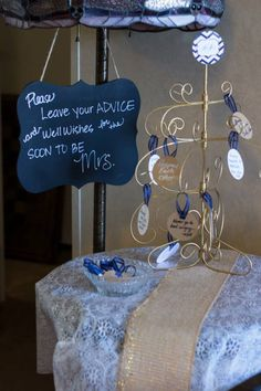 advice tree for navy blue gold and white bridal shower white bridal shower