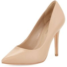 BCBGMAXAZRIA Opia Leather Pointed-Toe Pump (430 BRL) ❤ liked on Polyvore featuring shoes, pumps, nude, leather pumps, nude high heel pumps, nude leather shoes, pointy toe shoes and pointed toe high heel pumps