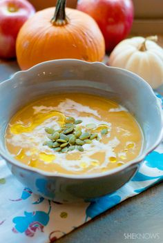 You'll never believe this roasted pumpkin and fresh apple soup is actually #vegan