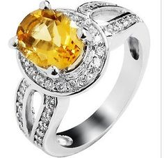 2 Carat Natural Citrine Ring With CZ Accent in Yellow/White Gold Plated Sterling Silver -