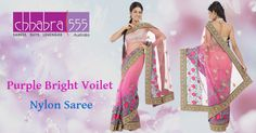 Chhabra555 brings for you Purple Bright Violet Nylon Saree @ $344.95 AUD in Australia with Comfort of online shopping through easy navigation.