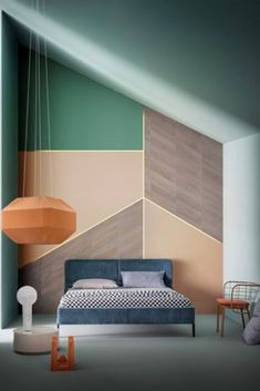When painting, think about adding dimension to the space. You can do this by using colours with different opacity levels, and blocking out geometric shapes. Perhaps try honeycomb hexagons or triangles! #geometric #dimensions #dimensionalcolor #paintingforbeginners #geometricwallart #colortransformation #colourtrends #triangle Geometric Wall Art, Geometric Shapes, Honeycomb, Color Trends, Colours, Day, Painting, Hexagons, Furniture