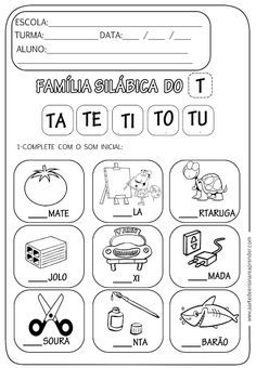 Learning Portuguese for Business Portuguese Lessons, Learn Portuguese, Spanish Worksheets, School Worksheets, Handwriting Practice, Phonics, Preschool Activities, Homeschool, Classroom