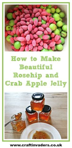 Rosehip and Crab Apple Jelly is a delicious recipe made from foraged fruits. This delightful preserve tastes lovely with both sweet and savoury dishes and makes a fabulous home-made gift. Crab Apple Recipes, Crab Apple Jelly, Tasty, Yummy Food, Wild Edibles, Savoury Dishes, Dessert Recipes, Favorite Recipes, Crab Apples