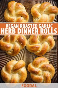 Vegan Roasted Garlic & Herb Dinner Rolls