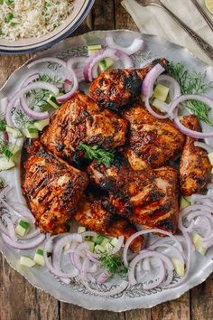 Grilled Tandoori Chicken with Indian-Style Rice Recipe on Yummly. yummly Grilled Tandoori Chicken with Indian-Style Rice Recipe on Yummly. Rice Recipes, Indian Food Recipes, Asian Recipes, Healthy Recipes, Ethnic Recipes, Healthy Food, Indian Chicken Recipes, Pakistani Food Recipes, Arabic Recipes