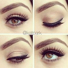 Natural makeup:  Pestañas postizas, delineado y corrector de ojeras.