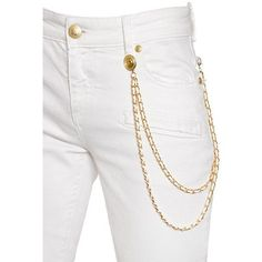 Pierre Balmain Women Slim Fit Cotton Denim Jeans W/ Chains ($510) ❤ liked on Polyvore featuring jeans, chain jeans, white slim jeans, slim jeans, 5 pocket jeans and slim cut jeans