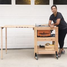 Learn how to make a DIY table saw stand with a folding outfeed table. This simple portable table saw stand is perfect for a small shop! Get the woodworking plans and detailed video tutorial. diy for beginners plans tips tools Woodworking Workshop, Woodworking Projects Diy, Woodworking Plans, Woodworking Techniques, Diy Furniture Plans Wood Projects, Woodworking Classes, Woodworking Ornaments, Small Woodworking Shop Ideas, Diy Projects Garage