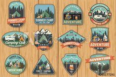 Vintage Typography, Typography Design, Logo Design, Graphic Design, Camp Logo, Forest Silhouette, Isometric Design, Badge Design, Photoshop Design