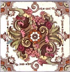 Victorian Majolica Ceramic Tile