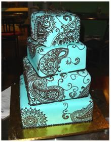Teal and brown henna cake, beautiful! However, my OCD says to straighten the tiers. Gorgeous Cakes, Pretty Cakes, Amazing Cakes, Unique Cakes, Creative Cakes, Fondant Cakes, Cupcake Cakes, Paisley Cake, Henna Cake