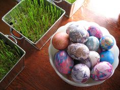 tie dyed eggs and wheat  berry grass