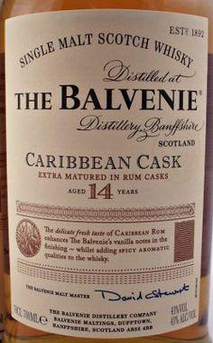 Balvenie, Single Malt Scotch Whisky, 14 year old, 43% 70cl, aged in the Caribbean Rum Casks, Speyside, Scotland.