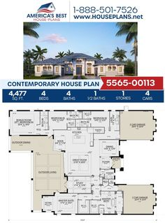 Get to know this big & beautiful Contemporary design. Plan 5565-00113 offers 4,477 sq. ft., 4 bedrooms, 4.5 bathrooms, a breakfast nook, an outdoor living area, a bonus room, and a sitting room. Learn more about this design on our website. Contemporary House Plans, Contemporary Bathrooms, Contemporary Design, Floor Plan Drawing, Floor Framing, Best House Plans, Flat Roof, Outdoor Living Areas, Build Your Dream Home