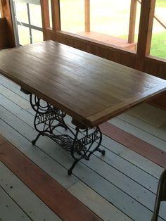 Sewing Machine Table Domestic Brand Built Top W Reused Hardwood Floor Remnants