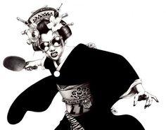 Onsen Ping Pong Geisha: illustrations by Shohei Otomo Japanese Pop Art, Traditional Japanese Art, Japanese Artists, Japanese Culture, Japanese Drawings, Japanese Modern, Japanese Geisha, Japanese Kimono, Japanese Fashion