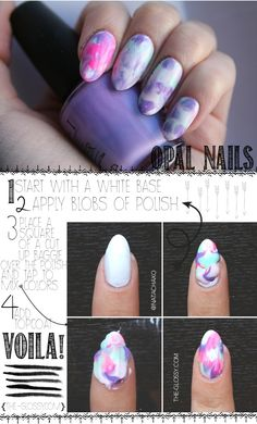 Super cute and SUPER easy tutorial - Opal Marble Nail Art - HelloGlossy
