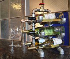 Industrial Galvanized Steel Pipe Wine Rack by SoNowWhat on Etsy, $50.00