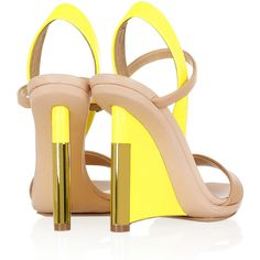 Reed Krakoff Leather and patent-leather wedge sandals ($320) ❤ liked on Polyvore