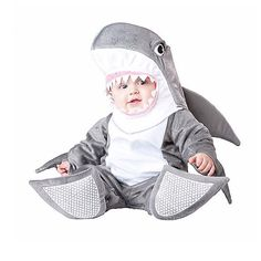 This Halloween, have the cutest little ocean baby ever with this Infant Silly Shark Costume. Does your baby shark have a sister? This cute costume goes great with mermaid costumes too! Baby's First Halloween Costume Ideas - Thrifty Brittany Shark Halloween Costume, Halloween Bebes, Shark Costumes, Baby Halloween Costumes For Boys, Baby First Halloween, Animal Costumes, Toddler Costumes, Cute Costumes, Infant Halloween