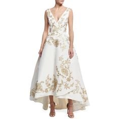 Oscar De La Renta Embroidered Silk Faille High-Low Gown (€13.180) ❤ liked on Polyvore featuring dresses, gowns, white, high low evening dresses, white gown, high low dresses, silk dress and high low gown