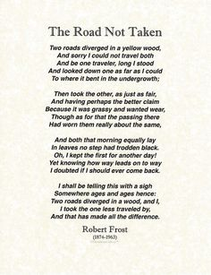 The Road Not Taken by Robert Frost on Parchment Art Print by Desiderata Gallery