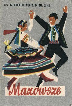 Nifty old matchbook cover collection, like miniature old posters! mostly from eastern Europe. Folk Dance, Dance Art, Graphic Design Illustration, Illustration Art, Vintage Illustrations, Dancing Drawings, Polish Folk Art, Polish Posters, Matchbox Art