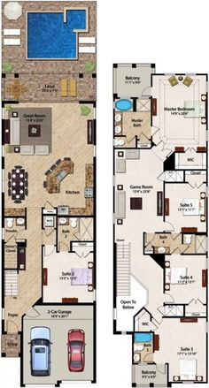 Florida Resort Vacation Homes I Encore Club at Reunion - 6 Bedroom Homes Best House Plans, Dream House Plans, Modern House Plans, House Floor Plans, My Dream Home, House Layout Plans, House Layouts, Narrow House Plans, Long House