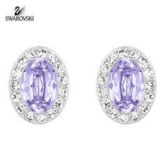 Swarovski Purple Lavender Crystal Pierced Studs Earrings CHRISTIE #5118896