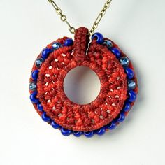 Macrame Circle Pendant with beads by AMIRA jewelry on Etsy