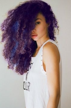 natural curly hair with blue highlights - Google Search