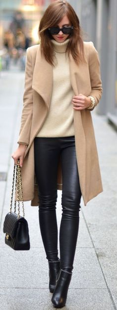Fall fashion   Turtle neck, neutral coat, leather pants and studded ankle boots