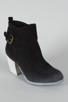 Suede Buckle Ankle Bootie