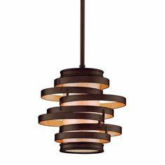 "Corbett Lighting 113-41 Vertigo Single Light 9-1/4"" Wide Mini Pendant with Fabri Bronze with Gold Leaf Indoor Lighting Pendants"