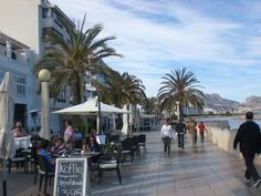 Altea seafront on the Costa Blanca-muy bonita. Altea, Lots Of People, Beautiful Places To Visit, Alicante, Vacation Spots, Spain, To Go, Wanderlust, Street View