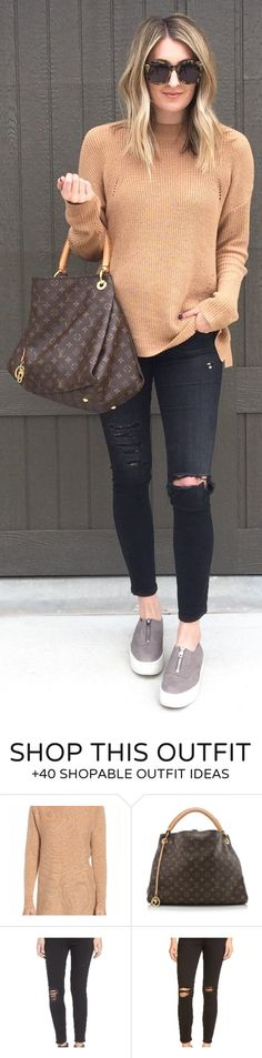 #spring #fashion / Camel Knit / Black Ripped Skinny Jeans / Grey Snealers