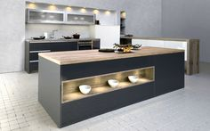 Here you can see the overall look of this kitchen. The Anthracite Metal panels and doors, White panels and doors as well as the Brown Wild Oak worktops and block end panels. Anthracite Kitchen, Oak Worktops, Kitchen Sink Taps, Bespoke Kitchens, Modern Kitchens, Extractor Hood, New Kitchen, Kitchen Ideas, Metal Panels