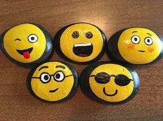 Emoji Faces, painted, on rocks - #8PR by GodsGlitter on Etsy