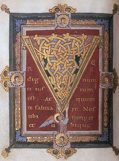 "Tyniec Sacramentary: Initial ""V"" Polish,before1059"