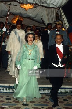 Queen Elizabeth ll attends a banquet hosted by King Hassan ll at the Royal Palace on October 28, 1980 in Rabat, Morocco.