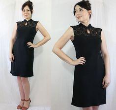 Vintage 60's style Black Lace Mandarin COCKTAIL DRESS, $40.00