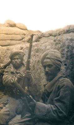 Sikh soldiers of 29th Indian Infantry Brigade in a trench during the Battle of Gallipoli 1915