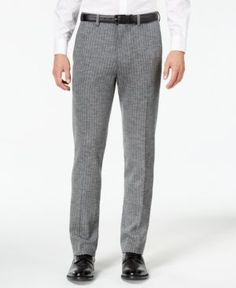 Bar Iii Men's Slim-Fit Gray Stripe Knit Suit Pants, Created for Macy's - Gray 33x30