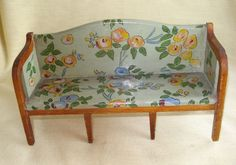 Vintage TYNIETOY Hand Painted FLORAL SHERATON SOFA Dollhouse Furniture Tynie Toy