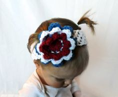Red White and Blue Flower Baby Headband  by AbigailsAttic112, $8.00