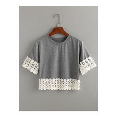 SheIn(sheinside) Grey Crochet Trimmed Crop T-shirt (535 INR) ❤ liked on Polyvore featuring tops, t-shirts, grey, stretch t shirt, cotton t shirts, cotton crop top, summer tees and cropped tops
