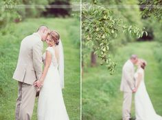 Absolutely LOVE this sweet and intimate wedding pose for the bride and groom.  From a rustic wedding in an apple orchard!  Wildflower wedding photography is based in Columbia, MO and we specialize in rustic and outdoor weddings throughout the Midwest!  #columbiamowedding #orchardweddingvenue #weddingpose