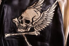 anch-crash: You can buy it only here! Our store comment VANSON バンソンスカル embroidery reversible ska Jean skeleton wing fire American casual bikie men jacket Father's Day present American Casual, Us Store, Fathers Day Presents, Satin Jackets, Japan Post, Global Market, The Magicians, Skeleton, Wings