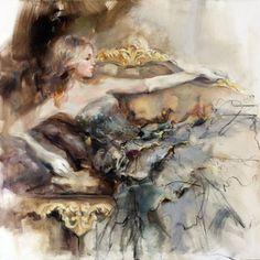 """English rose 2"" painting by Anna Razumovskaya."